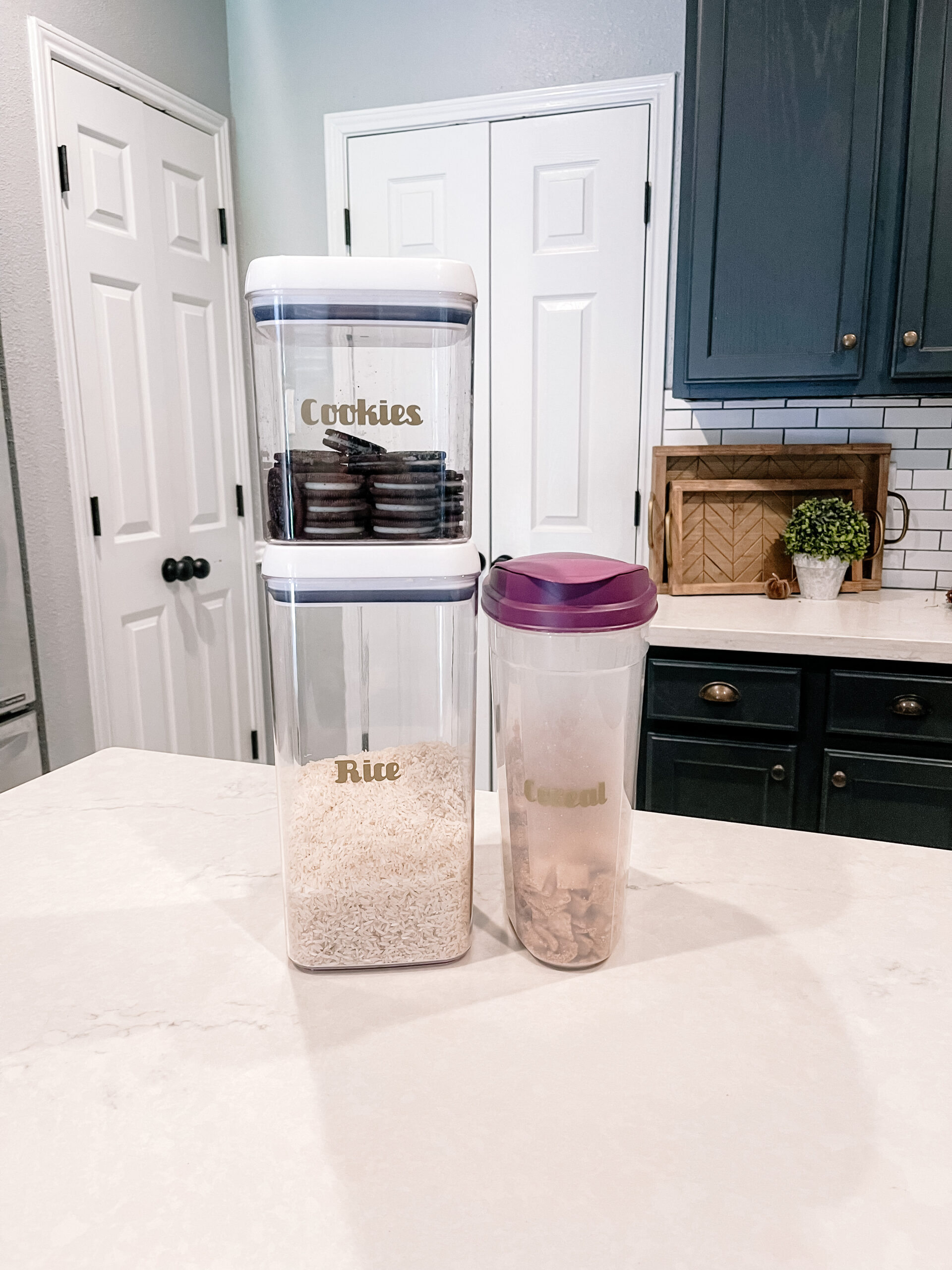 pantry storage with labels